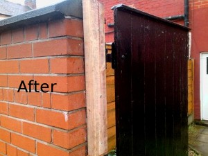 Gate post repair after - Helping Hands Salford