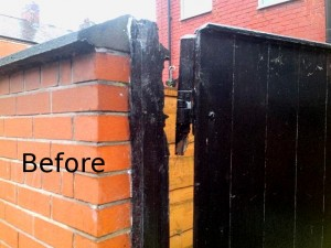 Gate post repair before - Helping Hands Salford